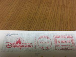 こちらは我が家に届いたもの。切手を貼らずに出しましたが、ちゃんと現地の郵便局で切手がわりの印鑑が押されていました!